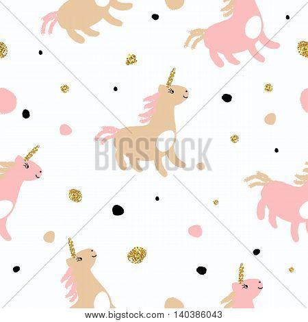 Magic unicorns seamless pattern with golden glitter texture. Vector illustration