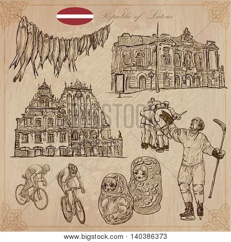 Latvia. Republic of Latvia. Vector pictures. Pictures of life and travel collection of an hand drawn illustrations. Pack of hand drawings. Set of freehand sketches. Line art technique.