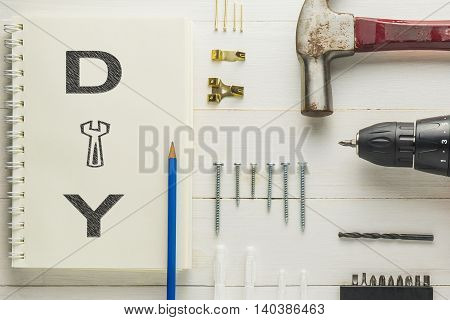 DIY picture frame tools with screw driver hammer and tools