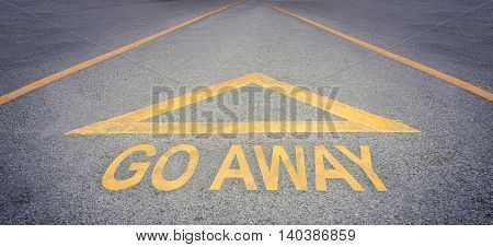 Go away arrow for direction on rough road concept