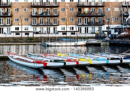 Row Of Boats Decorated With Different Colours