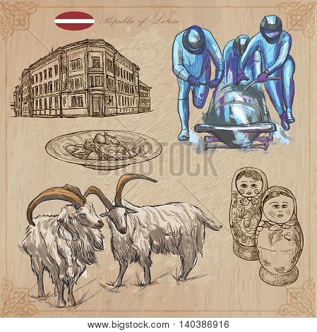 Latvia. Republic of Latvia. Vector pictures. Pictures of life and travel collection of an hand drawn illustrations. Pack of hand drawings. Set of freehand sketches. Colored line art technique.