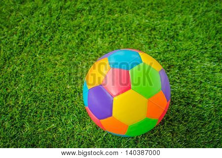 Real leather Colorful multi color  Soccer ball on green grass