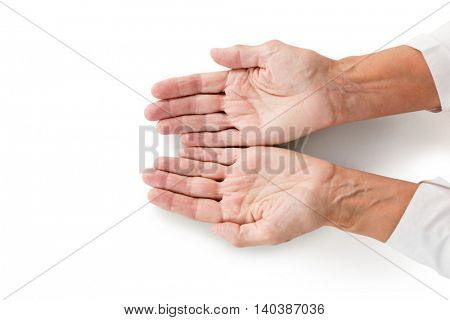 Cropped image of person hands on white background