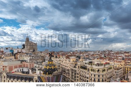 Roofs Of Old Buildings In The Spanish City Center On Cloudy Weather In Daytime