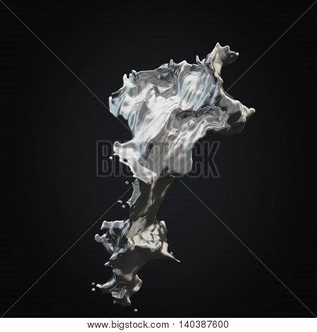 Isolated splash of silver on a black rendering black background.3D