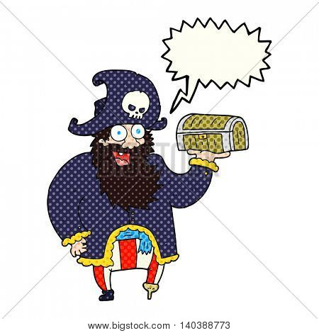 freehand drawn comic book speech bubble cartoon pirate captain with treasure chest
