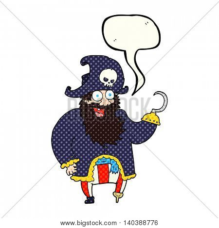 freehand drawn comic book speech bubble cartoon pirate captain