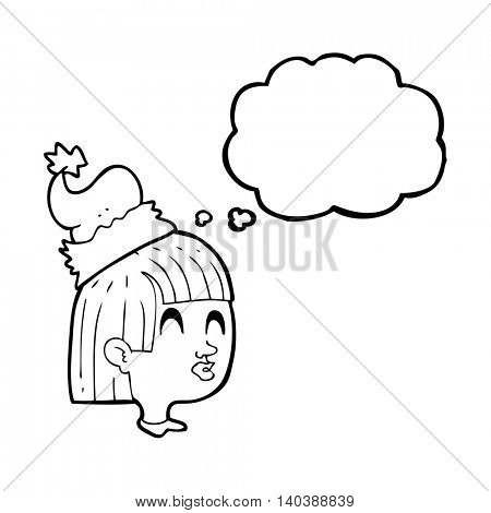 freehand drawn thought bubble cartoon girl wearing christmas hat