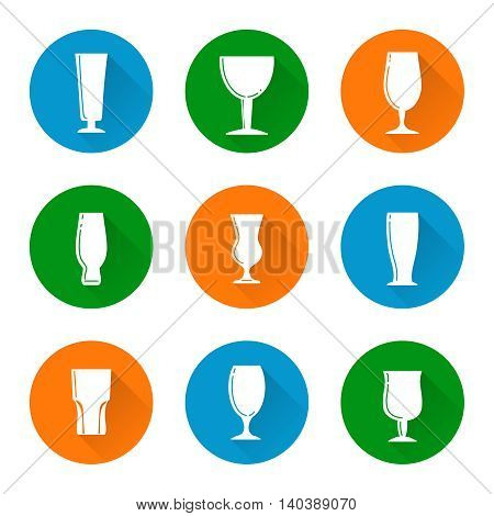 Flat beer glass icons set vector isolated on white background
