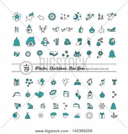 Set of icons - New Year Christmas winter. A vector.
