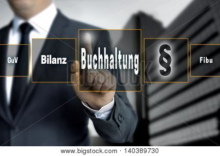 Buchhaltung (in German Accounting, Balance, Financial Accounting, Profit)  Touchscreen Concept Backg