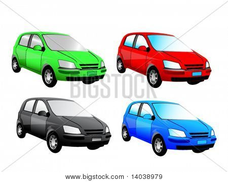 set of vector cars