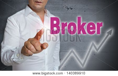 Broker touchscreen is operated by man Background