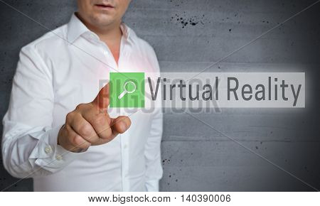 Virtual Reality Browser Is Operated By Man Concept
