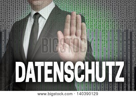 Hand Stop Datenschutz (in German Data Protection) With Matrix Is Shown By Businessman