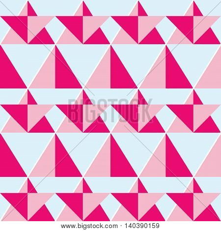 Geometric pink seamless pattern - flat design style with triangle shapes