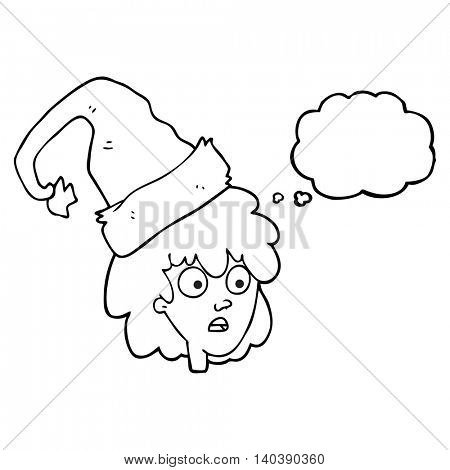 freehand drawn thought bubble cartoon woman wearning santa hat