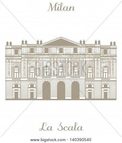 vector hand-drawn illustration of Teatro alla Scala in Milan