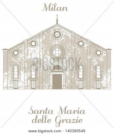 vector hand-drawn illustration of Santa Maria delle Grazie