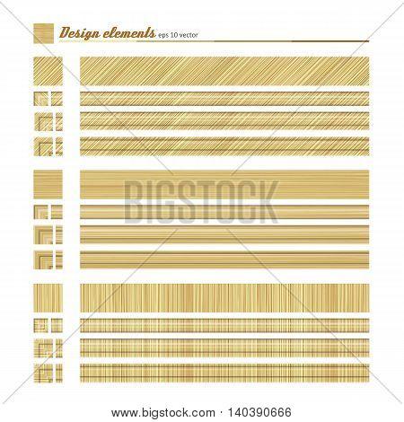Set of elements for design - decorative border natural material. A vector.