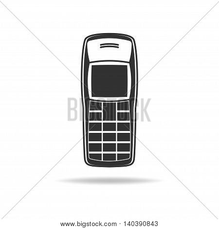 Vector icon of the legendary mobile phone. Retro cell phone icon. Most popular cell phone vector icon.