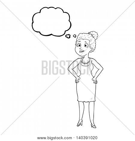 freehand drawn thought bubble cartoon woman wearing dress