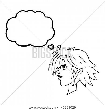 freehand drawn thought bubble cartoon happy female face