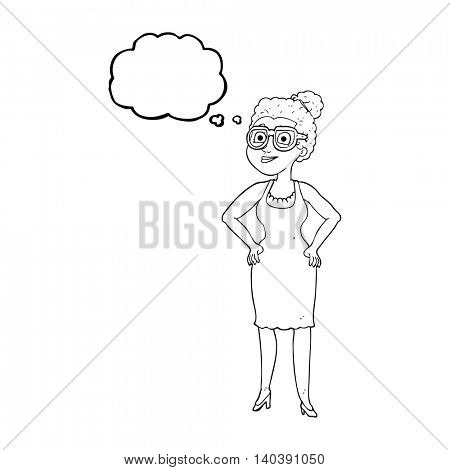 freehand drawn thought bubble cartoon woman wearing glasses