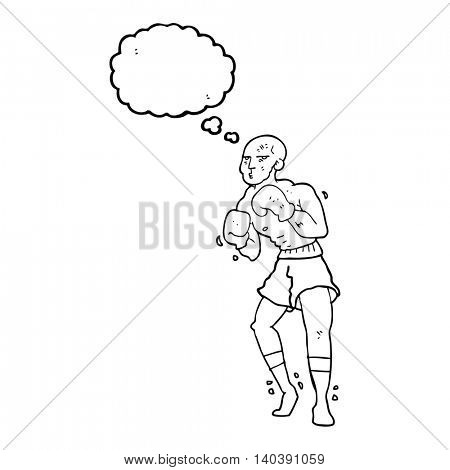 freehand drawn thought bubble cartoon boxer