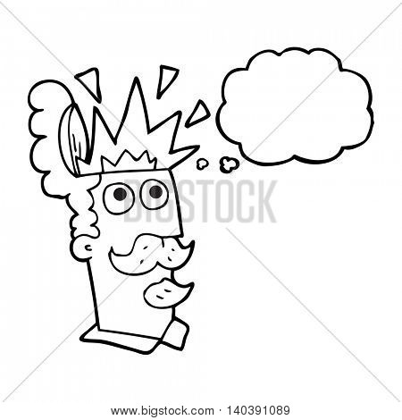 freehand drawn thought bubble cartoon man with exploding head