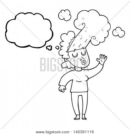 freehand drawn thought bubble cartoon woman letting off steam