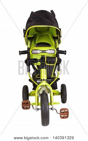 Green tricycle isolated on a white background