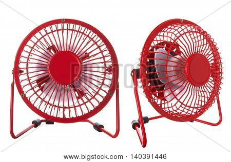 Electric red fan isolated on a white background