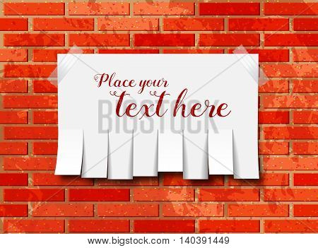 Tear off paper notice on the wall. Vector illustration