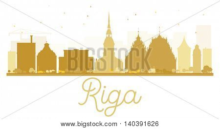 Riga City skyline golden silhouette. Vector illustration. Simple flat concept for tourism presentation, banner, placard or web site. Business travel concept. Cityscape with landmarks