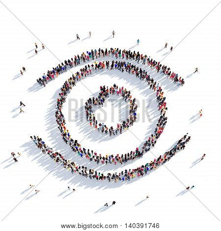 Large and creative group of people gathered together in the shape of eye vision. 3D illustration, isolated against a white background. 3D-rendering.