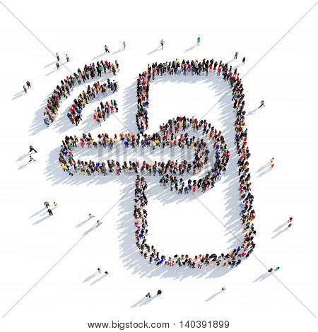 Large and creative group of people gathered together in the shape of a door handle, Wi fi. 3D illustration, isolated against a white background. 3D-rendering.