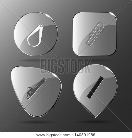 4 images: caliper, clip, gasoline-powered saw, ruler. Angularly set. Glass buttons. Vector illustration icon.