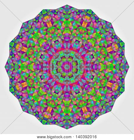 Colorful Circle Kaleidoscope Backdrop. Mosaic Abstract Flower of Geometric Shapes