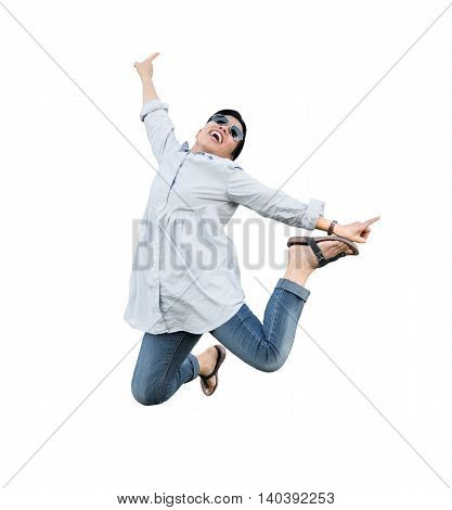 Asian woman captured in mid air, jumping for joy, isolated from background.