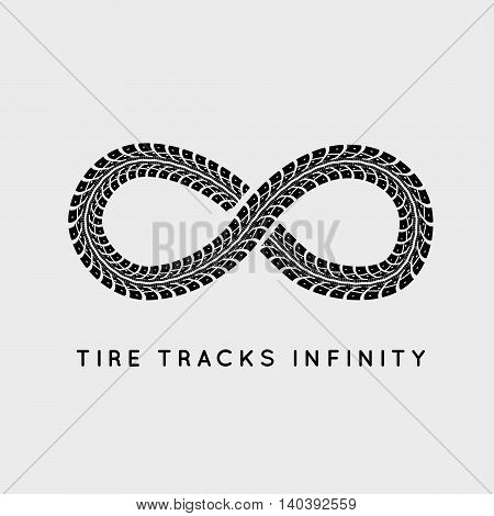Tire Tracks in Infinity Form. Vector illustration