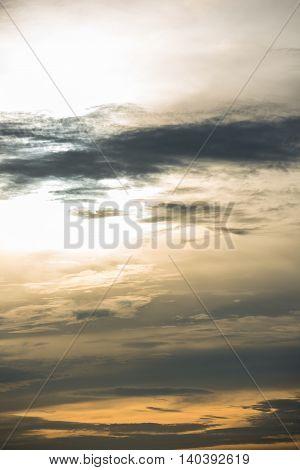 Evening sky with dark clouds of Tamil rainstorm
