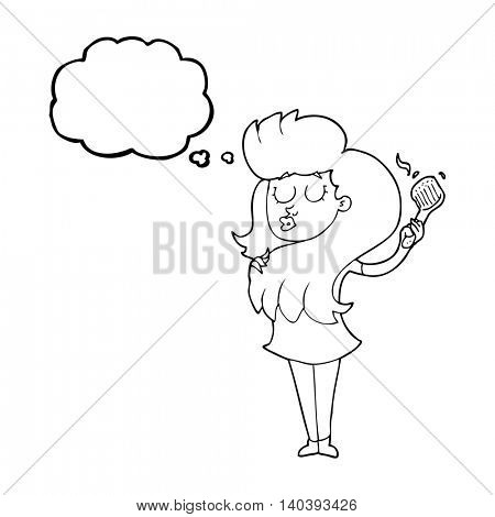 freehand drawn thought bubble cartoon woman brushing hair