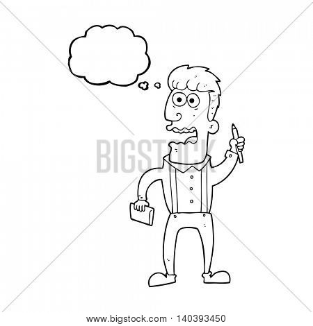 freehand drawn thought bubble cartoon stressed reporter