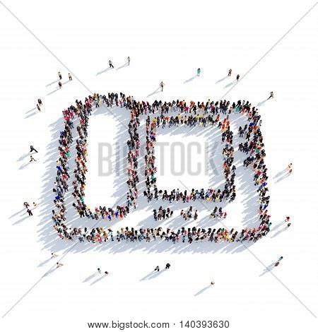 Large and creative group of people gathered together in the shape of telephone, video call. 3D illustration, isolated against a white background. 3D-rendering.