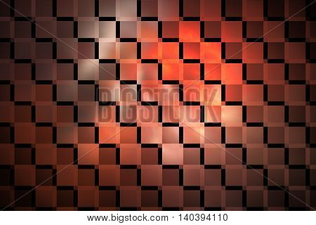 Abstract glowing geometric background. Fantasy fractal texture in orange pink and black colors. Digital art. 3D rendering.