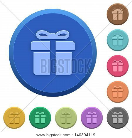 Set of round color embossed gift box buttons