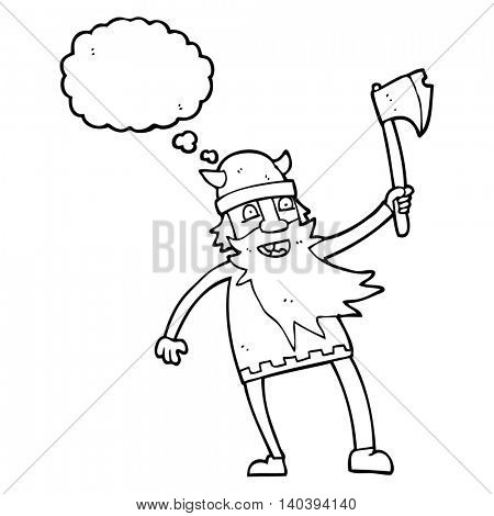 freehand drawn thought bubble cartoon viking