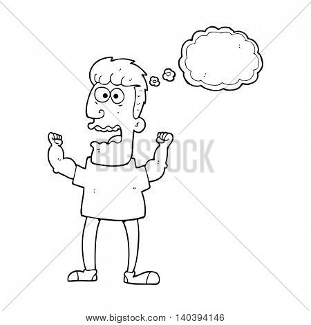 freehand drawn thought bubble cartoon stressed man